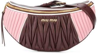 Miu Miu Pink brown Rider quilted leather belt bag