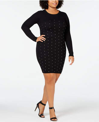 Planet Gold Trendy Plus Size Studded Sweater Dress