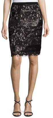 Elie Tahari Violet Sequined Lace Pencil Skirt, Black $398 thestylecure.com