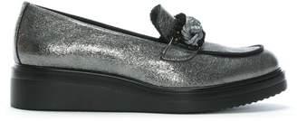 Kanna Lois Grey Metallic Leather Chunky Loafers