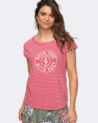 Roxy Womens Shades Of Cool Striped Logo T-Shirt