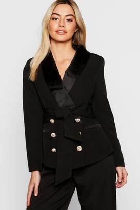 boohoo Petite Double Breasted Military Button Blazer