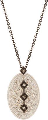 Armenta New World Midnight Diamond Pavé Oval Pendant Necklace