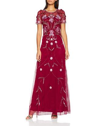 Frock and Frill Women's Embellished Maxi Dress Party (Persian Red Ff) 10