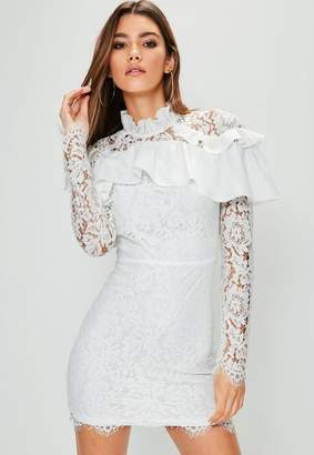 Missguided White Frill Shoulder Bodycon Dress