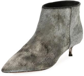 Twist Heel Low Fur Ankle Boot, Silver