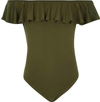 River Island Girls khaki frill bardot bodysuit