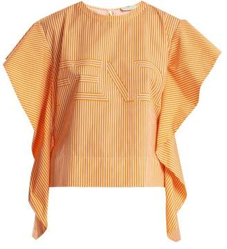 Fendi Logo Print Striped Cotton Poplin Top - Womens - Orange
