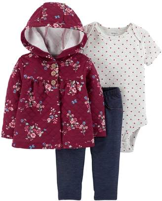 Carter's Baby Girl Floral Cardigan, Polka Dot Bodysuit & Jeggings Set