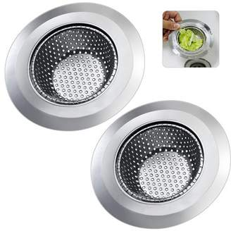 """Ipow IPOW Kitchen Sink Strainer Wide Rim 4.5"""" Diameter Stainless Steel Mesh Cover, Anti-clogging Micro-perforation 2mm Holes, Rust Free, Dishwasher Safe, 2 Pack"""