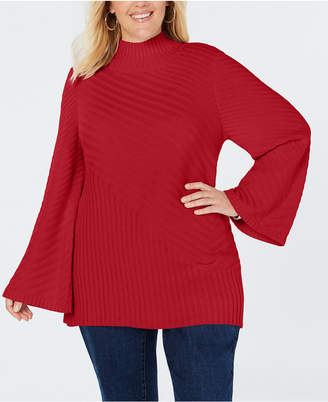 Charter Club Plus Size Patterned Mock Turtleneck Sweater
