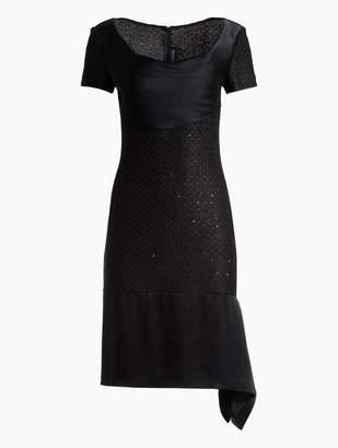 St. John Shimmer Sequin Knit Short Sleeve Dress
