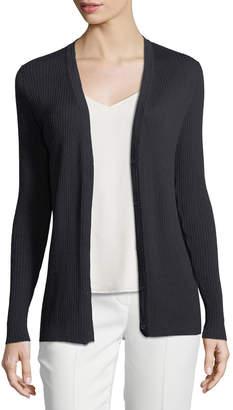 Lafayette 148 New York Modern Rib-Knit Button-Front Cardigan