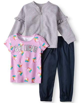 Wonder Nation Ruffle Detail Bomber Jacket, T-shirt, & Pants, 3-Piece Outfit Set (Toddler Girls)
