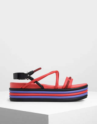 Charles & Keith Multi-Coloured Strappy Flatforms