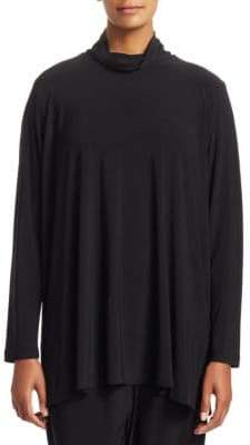 Caroline Rose Stretch Knit Mockneck Tunic Top