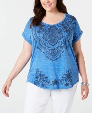 Style&Co. Style & Co Plus Size Graphic Cuffed T-Shirt, Created for Macy's
