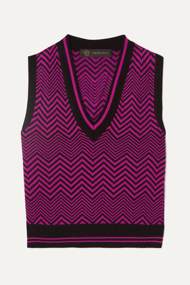 Versace Cropped Wool-jacquard Tank - Fuchsia
