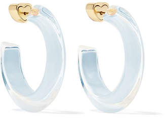 Alison Lou Small Jelly 14-karat Gold-plated, Enamel And Lucite Hoop Earrings - Sky blue