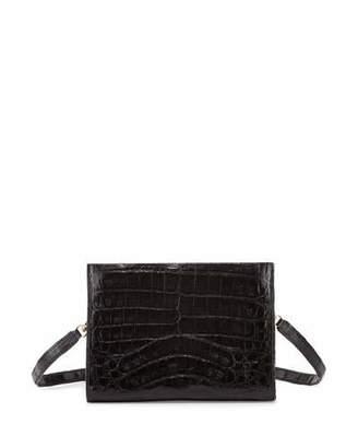 Nancy Gonzalez Crocodile Small Clutch Bag, Black Shiny