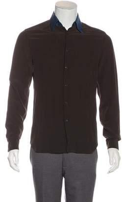 Prada Silk Contrast Collar Shirt