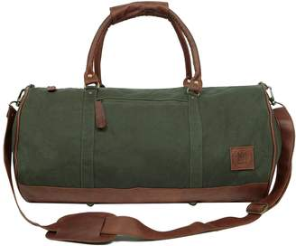 MAHI Leather - Gym Duffle in Green Canvas and Brown Leather