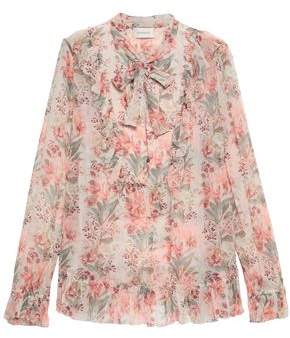 1991cee55b338 Zimmermann Pussy-bow Floral-print Silk-georgette Blouse
