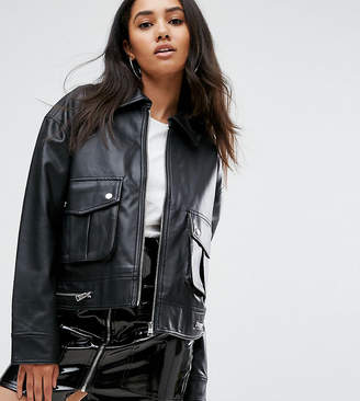 Missguided Leather Look Trucker Jacket