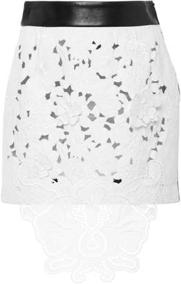 Fausto Puglisi Leather Back Lace Skirt