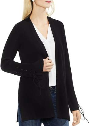 Vince Camuto Ribbed Lace-Up Cardigan