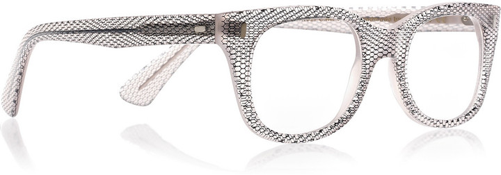 Cutler and Gross Square-frame lace-print acetate optical glasses