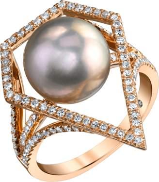 Shay Jewelry Geometric Caged Pearl & Diamond Ring