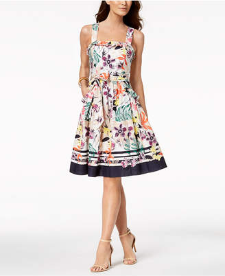 Vince Camuto Cotton Floral Stripe Fit & Flare Dress
