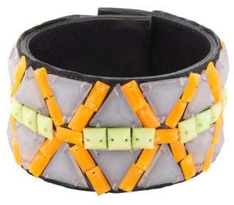 Andrew Gn Resin Leather Wrap Bracelet