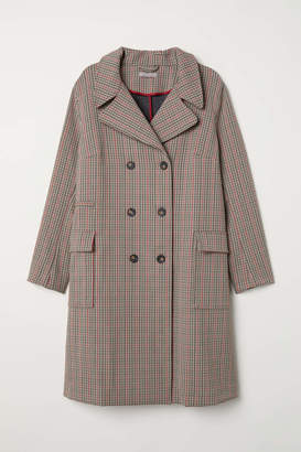 H&M H & M+ Double-breasted Coat - Beige/checked - Women