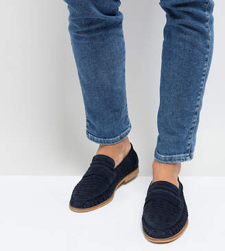 Silver Street Wide Fit Woven Loafers In Navy Suede
