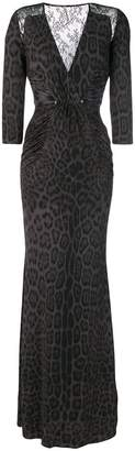 Roberto Cavalli pierced lace insert animalier dress