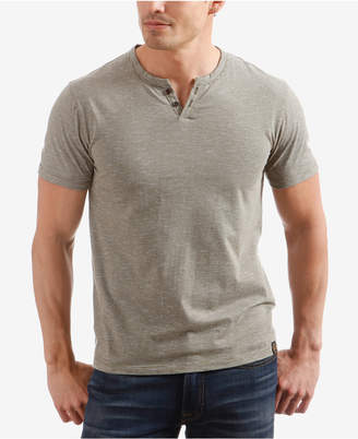 Lucky Brand Men's Textured-Stripe Split-Neck T-Shirt