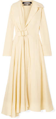 Jacquemus Aissa Belted Canvas Midi Dress - Yellow