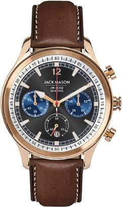 Jack Mason Nautical Chronograph Leather Strap Watch, 45mm