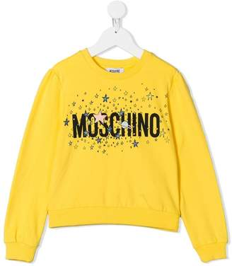 Moschino Kids stars and planet logo print sweatshirt