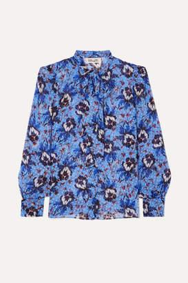 Diane von Furstenberg Lanie Pussy-bow Floral-print Flocked Silk-blend Chiffon Blouse - Blue
