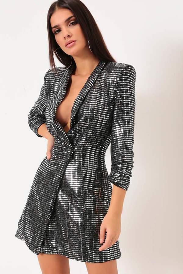 Isawitfirst Silver Sequin Blazer Dress