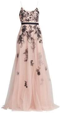 Marchesa Sleeveless Metallic Floral Beaded Tulle A-Line Gown