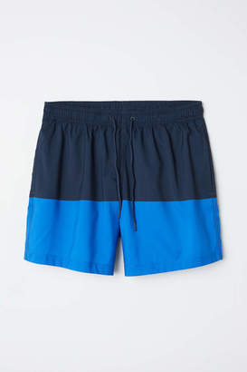 H&M Color-block Swim Shorts - Dark blue/blue - Men