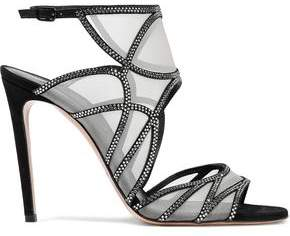 Casadei Crystal-Embellished Suede And Mesh Sandals