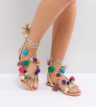 Asos DESIGN FACEMASK Wide Fit Pom Pom Flat Sandals
