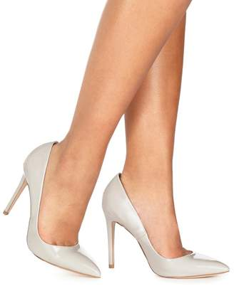 Faith Light Grey Patent 'Chloe' High Stiletto Heel Pointed Shoes
