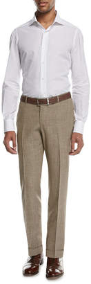 Isaia Sanita Melange Linen-Look Cotton Trousers