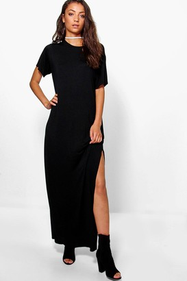 boohoo Tall Delila Split Side T-Shirt Maxi Dress